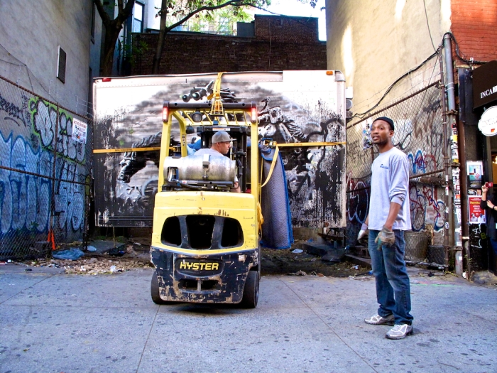 "Crew from ARTCORE Fine Art Services prepare to move Banksy's ""Crazy Horse"" on Tuesday October 15, 2013.(Arturo Fernandez/Thisissouthwark)"