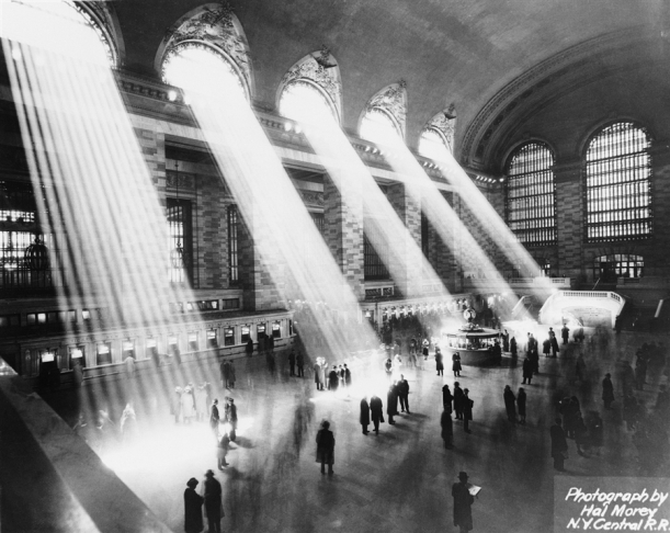 1930s: Beams of sunlight stream through the windows at Grand Central Terminal, in New York City. Hal Morey / Hulton Archive via Getty Images