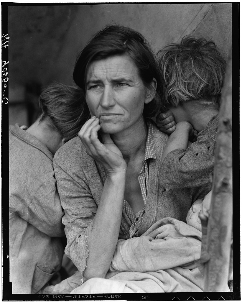 "Destitute pea pickers in California. Mother of seven children. Age thirty-two. Nipomo, California aka ""Migrant Mother"".  Photo by Dorothea Lange Library of Congress, Prints & Photographs Division, FSA/OWI Collection, [reproduction number, e.g., LC-USF34-9058-C]"