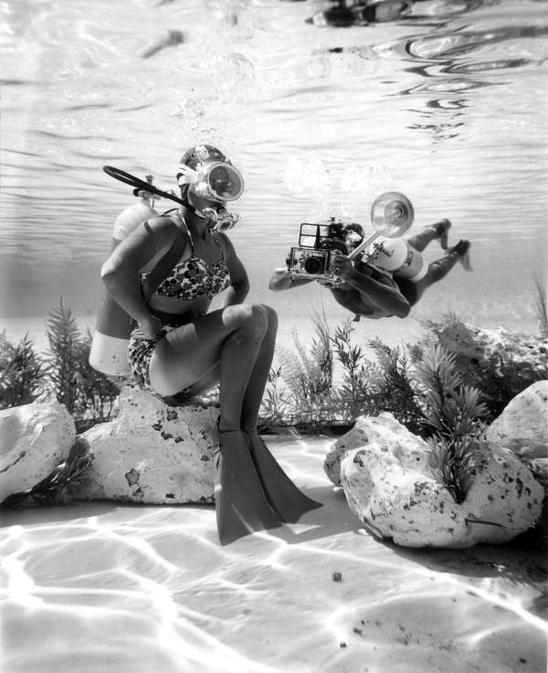 Diver and photographer at Cypress Gardens: Winter Haven, Florida(1963)