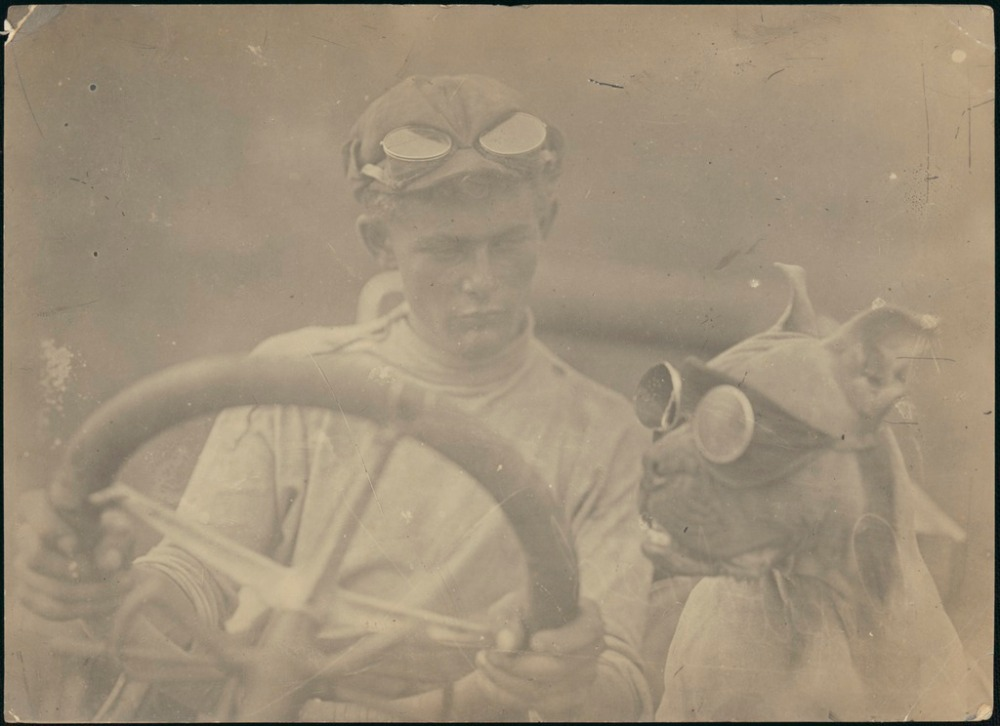 Clive Birtles at the wheel of the car with the dog, Wowser.  National Library of Australia via Flickr Commons