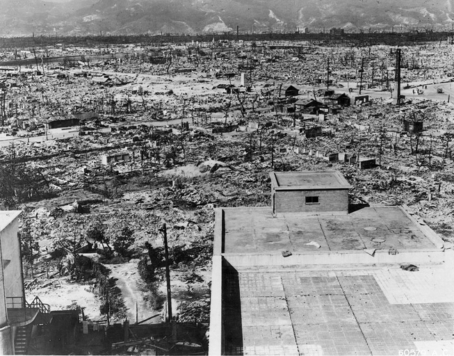 Hiroshima after the bombing.  Effects of the atomic bomb on Hiroshima. View from the top of the Red Cross Hospital looking northwest. Frame buildings recently erected. 1945.  US Gov Photo